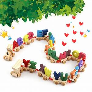 wooden train set alphabet wood letters with wheels kids With wooden letters toys