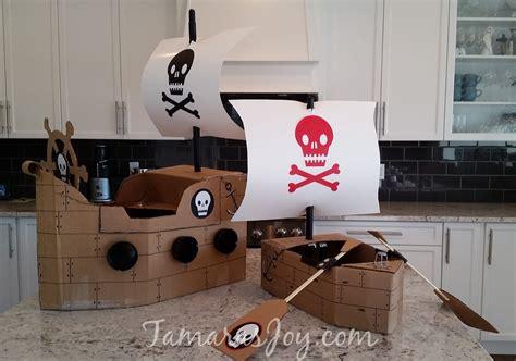 Pirate Ship Cardboard Boat by Easy Pirate Costume Made From Cardboard Tamara S