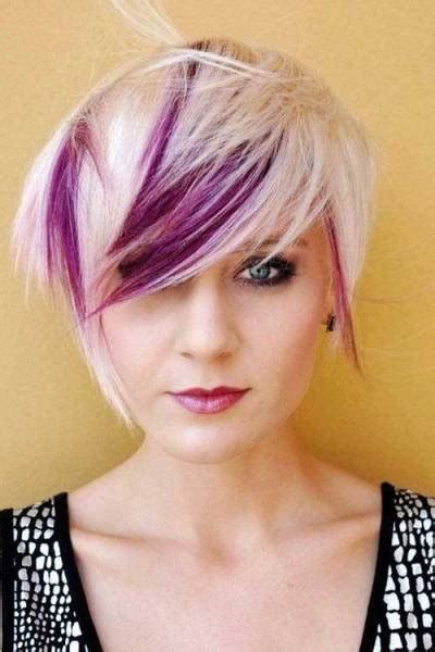 Blonde And Purple Hair Color For Short Haircut Short