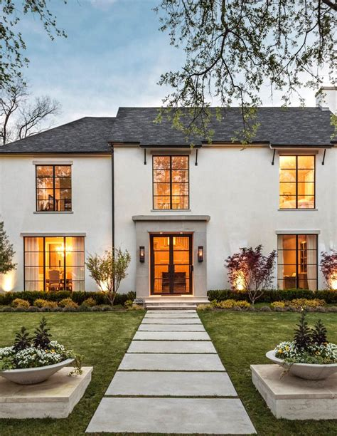 French Style Homes Interior - exterior stucco ideas exterior transitional with gas lanterns gas lanterns steel windows
