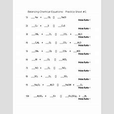 Identifying And Balancing Chemical Equations Worksheet Rcnschool