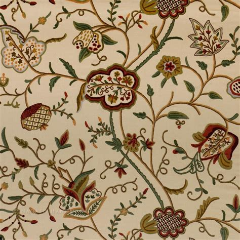 Crewel Upholstery Fabric by Kashmir Watlab Crewel Work Embroidered Upholstery Fabric
