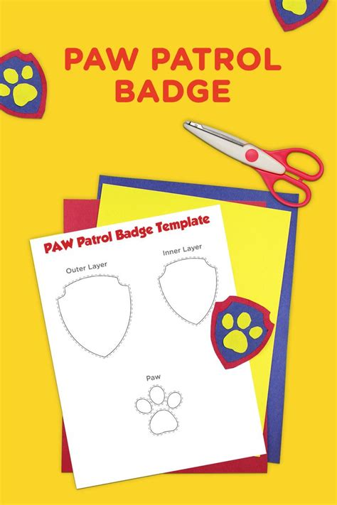 paw patrol printable badge template printables play