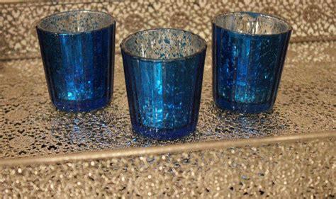 set   mercury glass blue cobalt navy  embellish