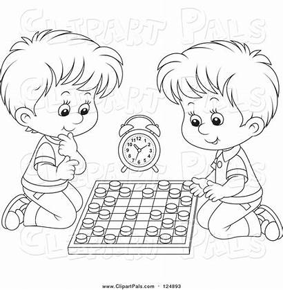 Chess Playing Clipart Boys Lineart Games Pal
