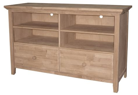 Unfinished Tv Stand With Two Drawers, 2 Adj Shelves (built