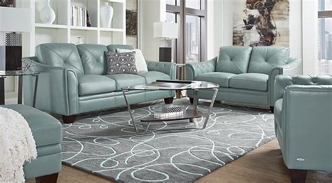home marcella spa blue leather 3 pc living room leather living rooms blue
