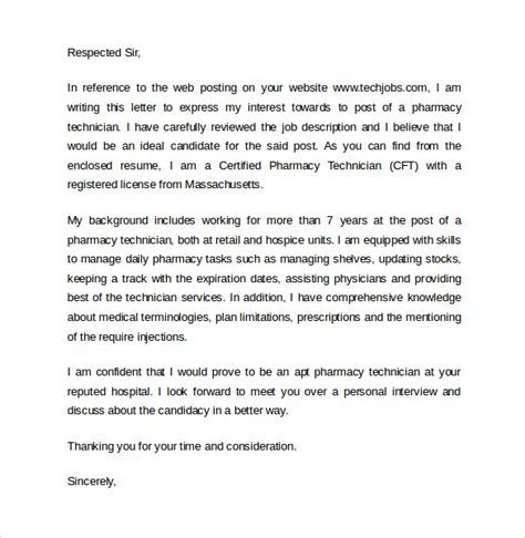 Cover Letters For Pharmacy Technicians by 7 Sle Pharmacy Technician Letters Sle Templates