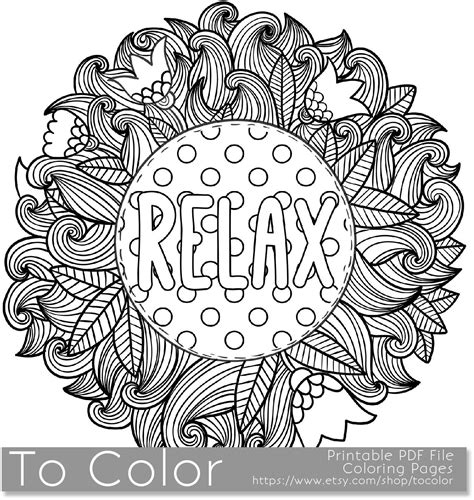 relaxing coloring pages printable relax coloring page for adults pdf jpg