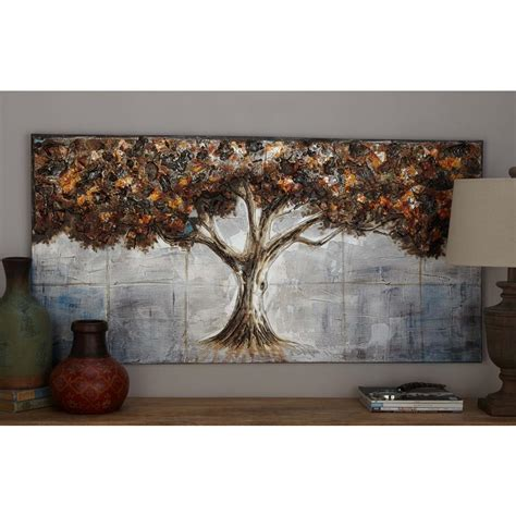 framed leaves wall 28 in x 55 in quot maple tree leaves quot framed painted 3512