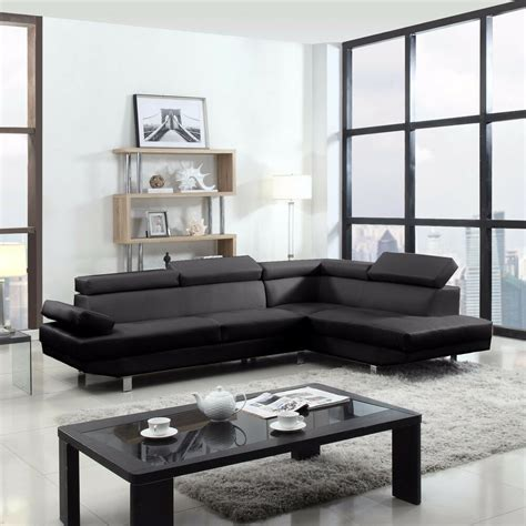 Contemporary Sectional Modern Sofa by 2 Contemporary Modern Faux Leather Black Sectional