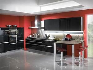 deco cuisine rouge et noir With idée déco cuisine rouge