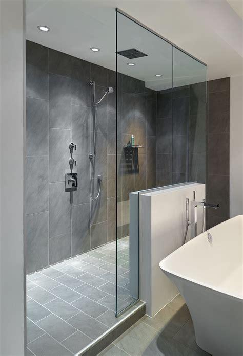 large walk  doorless shower  gray slate tiles