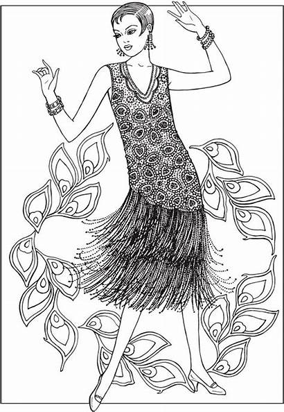 Coloring Pages Adult Books Jazz 1920s Dover