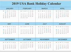 Free Printable Bank Holiday 2019 USA Calendar Templates