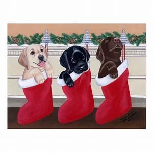 Labrador Retriever Puppies Christmas Post Cards | Zazzle