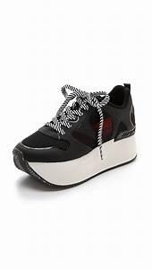 dkny platform sneakers black lyst