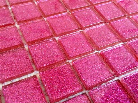 glitter pink glass mosaic tiles from grand taps and