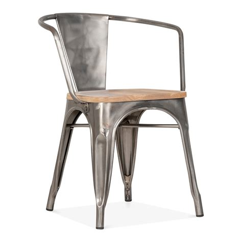 Tolix Armchair by Gunmetal Xavier Pauchard Style Armchair With Wood Seat