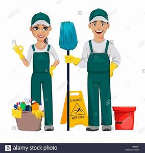 Cleaner Man Holds Mop And Woman Shows Ok Sign  Cheerful Cartoon Characters  Set Of Two Poses