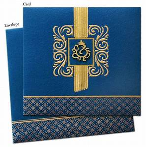 blue and gold lord ganesh invitation wedding invites With hindu wedding invitations with ganesh