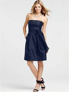 Strapless Navy Blue Knee Length Bridesmaid Dress With Sash ...