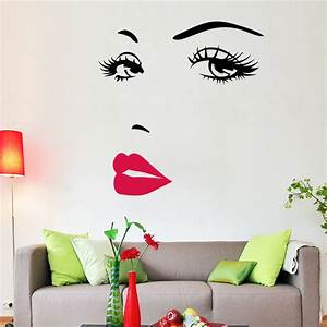 Portrait Sexy Beauty Girl Lip Eye 3d Wall Sticker ...