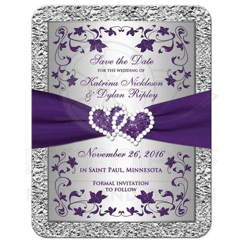Photo Wedding Save the Date Card 2 Purple Silver FAUX