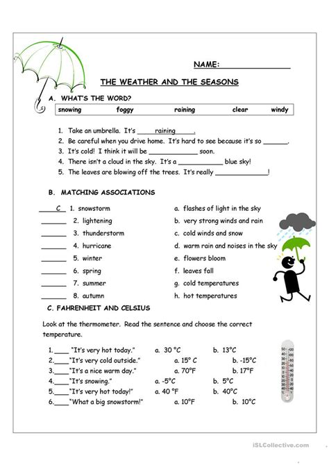 weather   seasons worksheet  esl printable