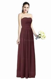 burgundy modern a line strapless zipper floor length plus With burgundy wedding dresses plus size