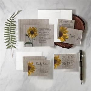 rustic sunflower wedding invitation set suite printed With rustic wedding invitations usa