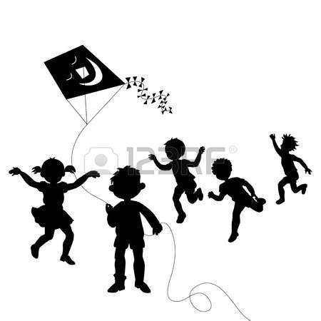 kids   world silhouette clipart black  white
