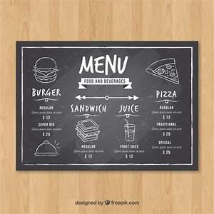 horizontal restaurant menu template in blackboard style With horizontal menu templates free download
