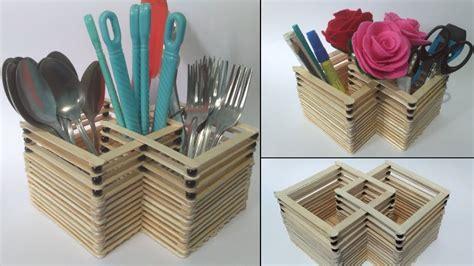 tempat sendok garpu cara membuat tempat sendok garpu dari stik es krim organizer 3 in 1 dari stik es krim youtube