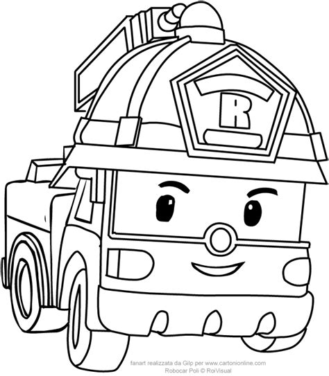 Kleurplaat Robocar Poli by Roy In Car Version From Robocar Poli Coloring Pages