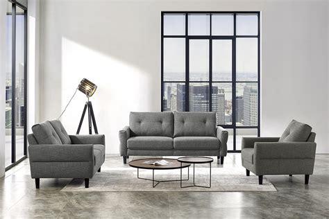 Divani Casa Clark Modern Grey & Beige Fabric Sofa Set