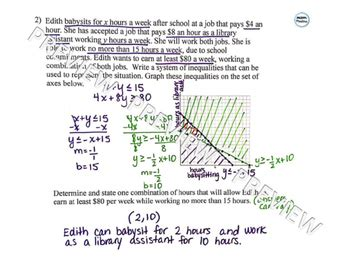graphing systems of inequalities word problems by math masters tpt
