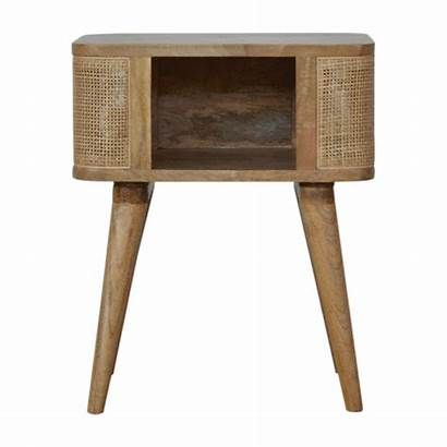 Bedside Open Slot Woven Solid Wood Tables
