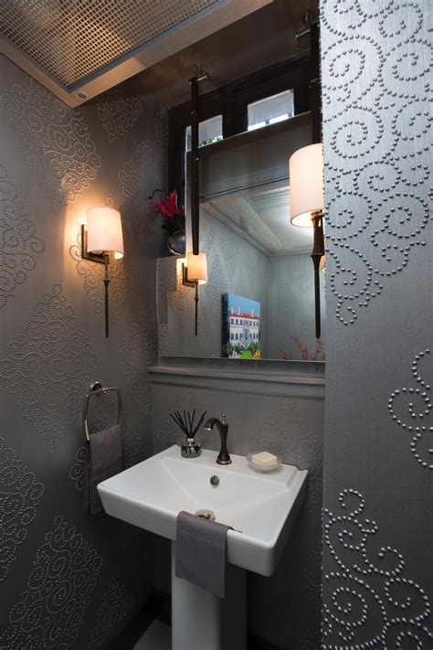 art deco powder room  sink  silver wallpaper hgtv