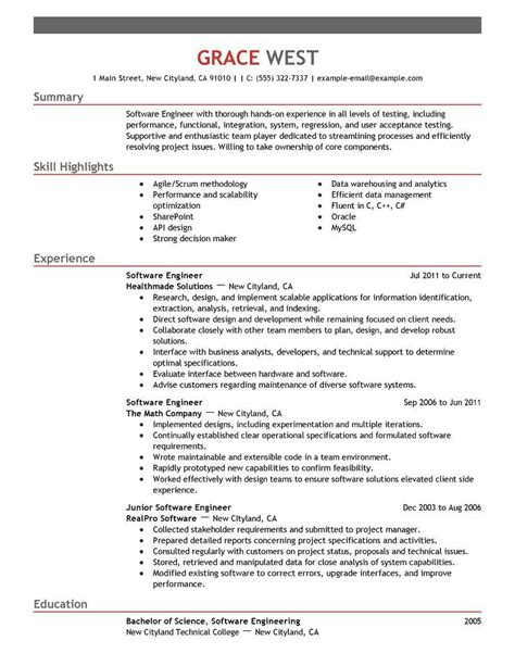 Sle Software Engineer Resume by Resume For Software Engineer Software Engineer Resume