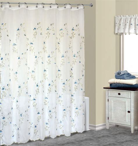 loretta embroidered blue floral fabric shower curtain w