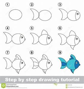Drawing Tutorial. How To Draw A Cute Fish Stock Vector ...