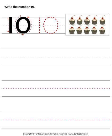 learn  write number ten worksheet turtle diary