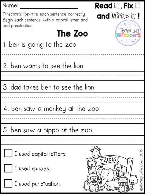 free fix it up sentences classroom ideas pinterest
