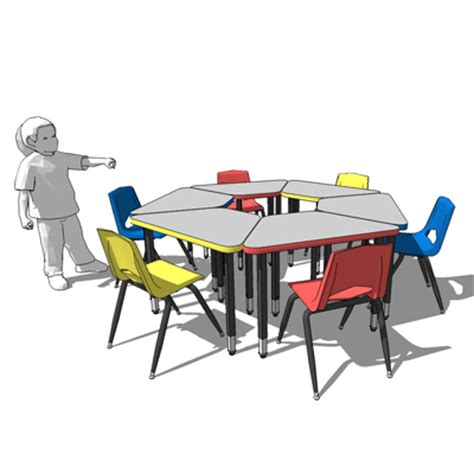 childrens table and chairs circle desks 3d model formfonts 3d models textures