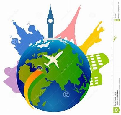 Globe Icons Around Traveling Landmark Travel Clip