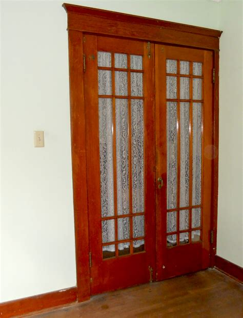 Rustic Interior Sliding French Door With White Curtain