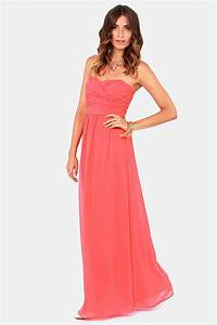 exclusive slow dance strapless coral maxi dress coral With coral maxi dress for wedding