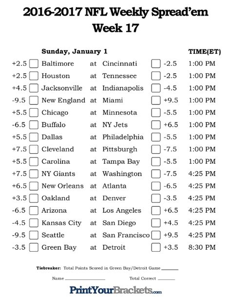 nfl week  pick em   spread sheets printable