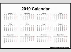 Download Free 2019 One Page Calendar Printable November